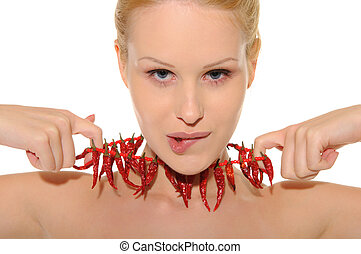 Sexy woman with jewelry of hot pepp