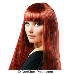 Sexy Woman with Long Shiny Straight Red Hair Isolated on...