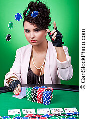 woman with poker face making a bet