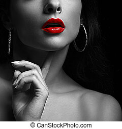 Sexy woman with red lips. Black and white portrait. Closeup