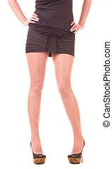 Sexy womanish leg in black shoe
