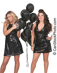 sexy women black balloons - two attractive, sexy young women...