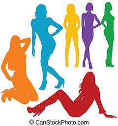 Sexy women hand drawn silhouettes