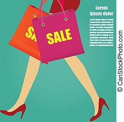 Women Legs With Red High Heels And Shopping bags, Business Concept
