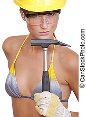 sexy worker with hammer