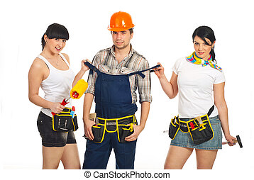 Sexy workers women with workman - Two sexy workers women...