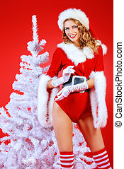 sexy x-mas girl - Beautiful sexy Christmas girl posing by a...