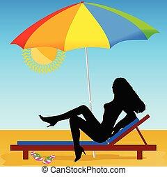 sexy, y, caliente, niña, en la playa, vector