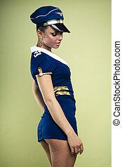 Sexy young air stewardess