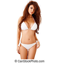 Sexy young brunette in a white bikini - Sexy young brunette...