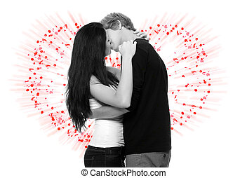 Sexy young couple kissing against abstract background made...
