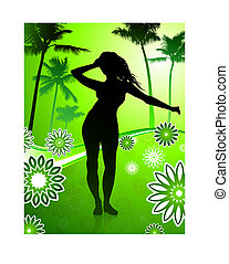 Sexy young girl dancing on floral summer background