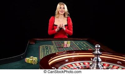 Sexy young girl in casino. Black