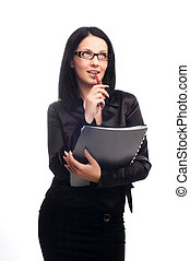 sexy young teacher with glasses and long dark hair
