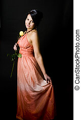 sexy young woman dress with rose flower