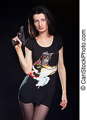 Sexy young Woman Holding Gun