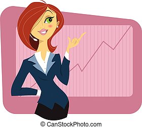 Sexy young woman in a business suit showing a graph of...