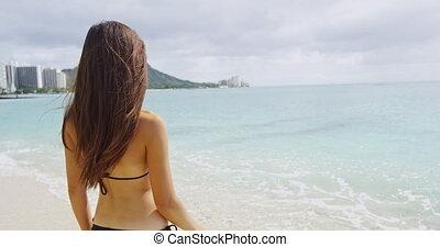Sexy Young Woman In Bikini Enjoying Summer Vacation At Waikiki Beach