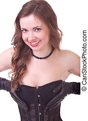 woman in black leather corset