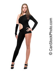 Sexy young woman in skintight black costume