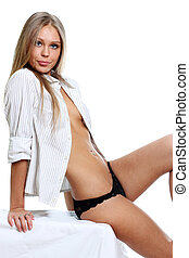 Sexy young woman in white shirt - Sexy young woman isolated...