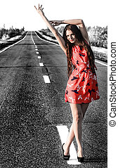 Sexy young woman on the road - Sexy young woman in a red ...