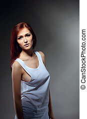 sexy young woman portrait in tank top