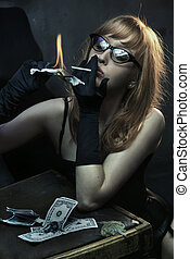 Sexy young woman smoking cigarette