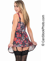 Sexy Young Woman Wearing Short Skater Style Dress