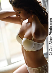 Sexy young woman wearing white bride underwear - Sexy young...