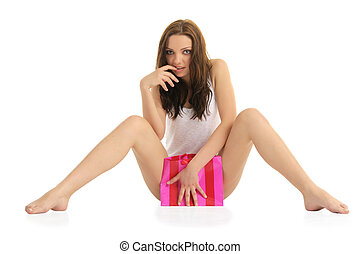 sexy young woman with a gift packag