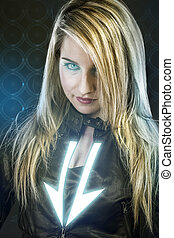 Sexy young woman with blue neon lights, future warrior costume, fantasy girl