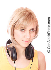 sexy young woman with headphones