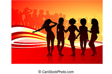 Sexy young women dancing on summer party background