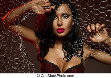 sexy, za, kobieta, drut chronią