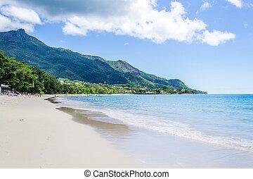 seychellen, verehrer, -, mahe, vallon, sandstrand