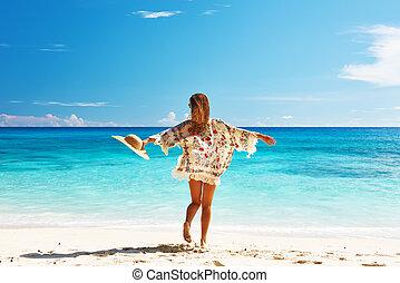 seychelles , γυναίκα , παραλία , τεμάχιο υφάσματος χρησιμεύον ως φούστα των μαλαισίων