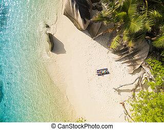 seychelles, aérien, digue, photo, la, plage