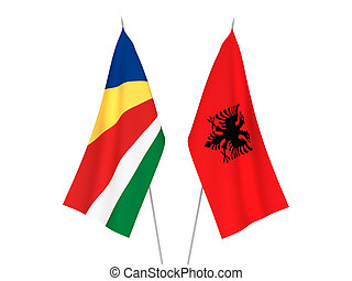 Seychelles and Albania flags - National fabric flags of ...