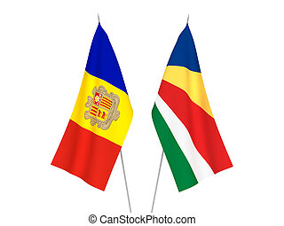 Seychelles and Andorra flags - National fabric flags of ...