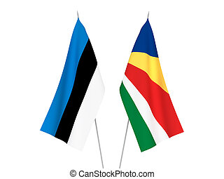 Seychelles and Estonia flags - National fabric flags of ...