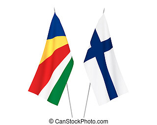 Seychelles and Finland flags - National fabric flags of ...