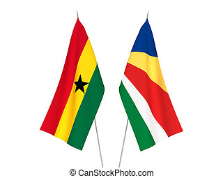 Seychelles and Ghana flags - National fabric flags of ...