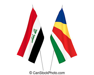 Seychelles and Iraq flags - National fabric flags of ...