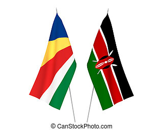Seychelles and Kenya flags - National fabric flags of ...