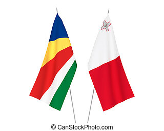 Seychelles and Malta flags - National fabric flags of ...