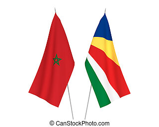 Seychelles and Morocco flags - National fabric flags of ...