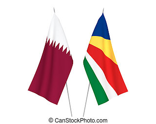 Seychelles and Qatar flags - National fabric flags of ...