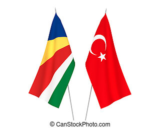 Seychelles and Turkey flags - National fabric flags of ...