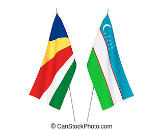 Seychelles and Uzbekistan flags - National fabric flags of ...